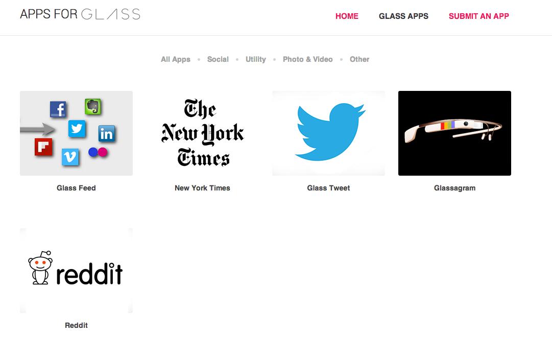 AppsForGlass Site Image